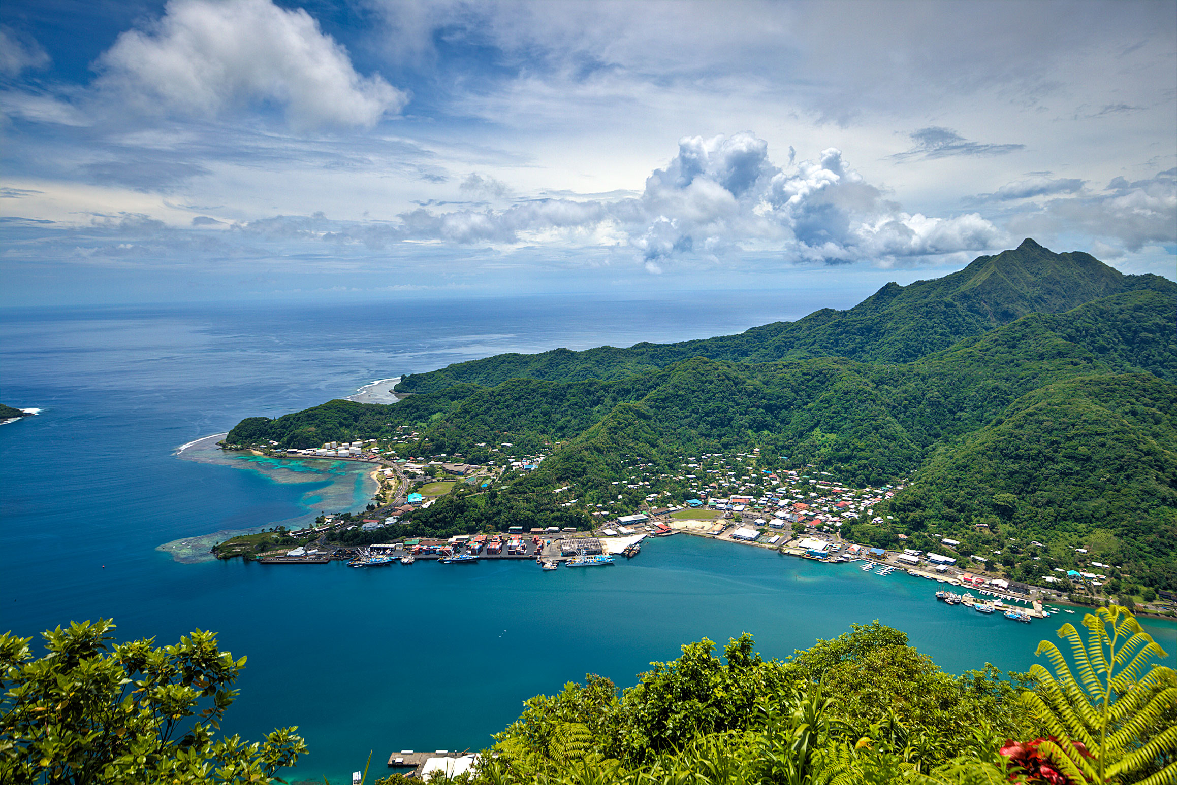 Overlooking Pago Pago from the top of Mount Alava, American Samoa