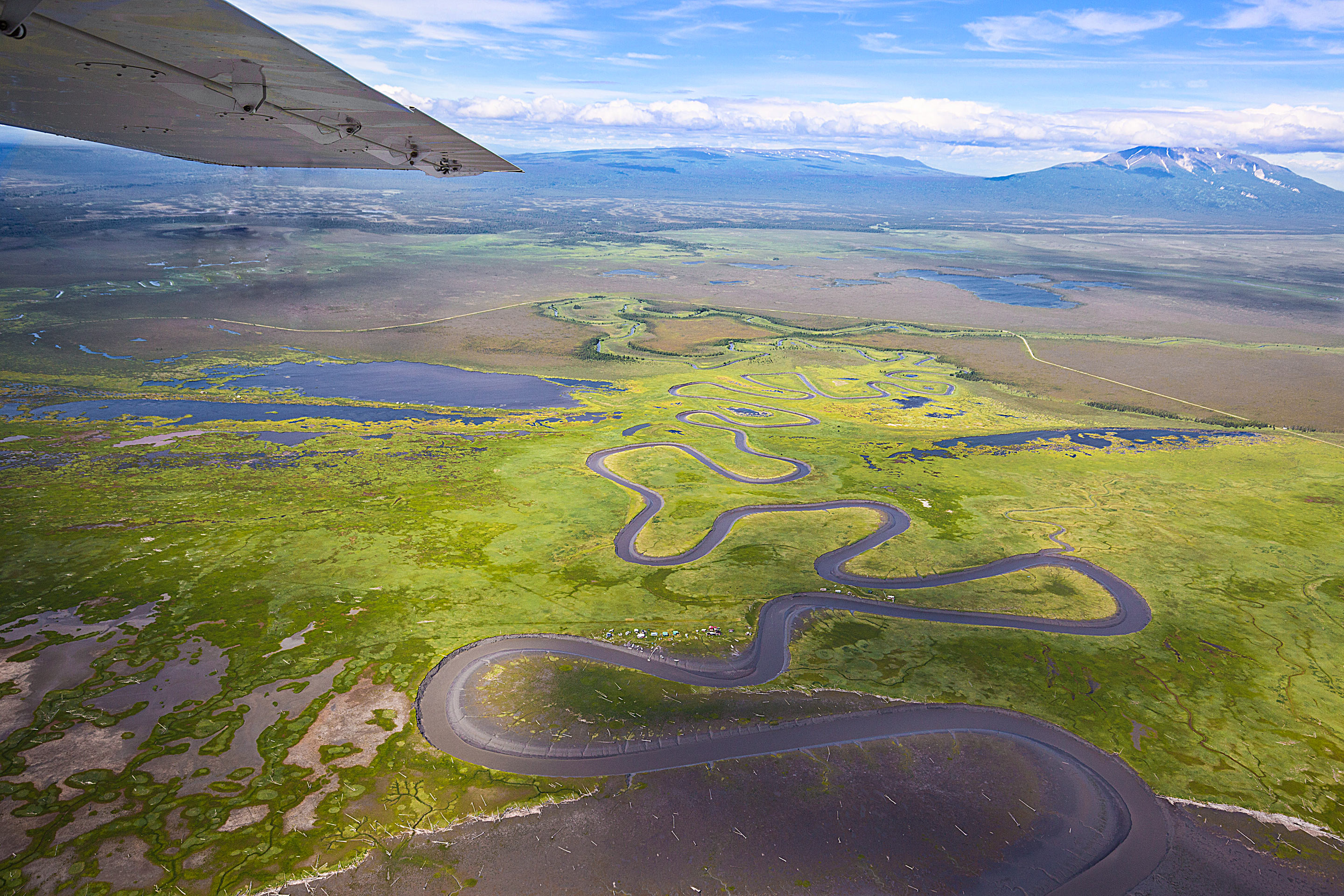 A winding river in Lake Clark