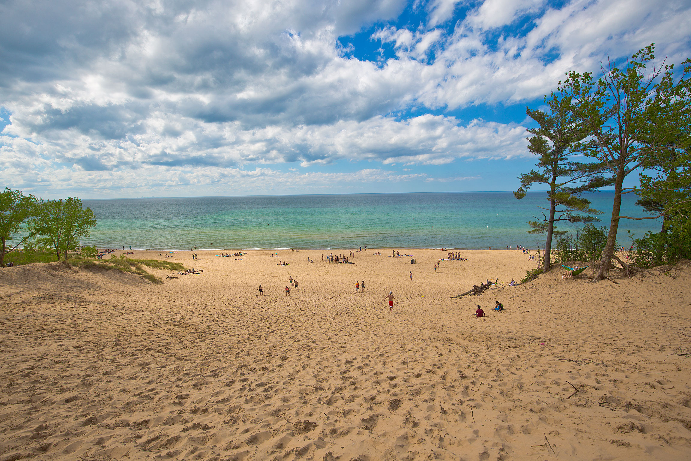 A beautiful day on the beach in Indiana Dunes State Park